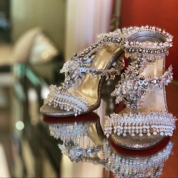 official photos 10ab9 ec60c Louboutin Crystal Wedding Shoes